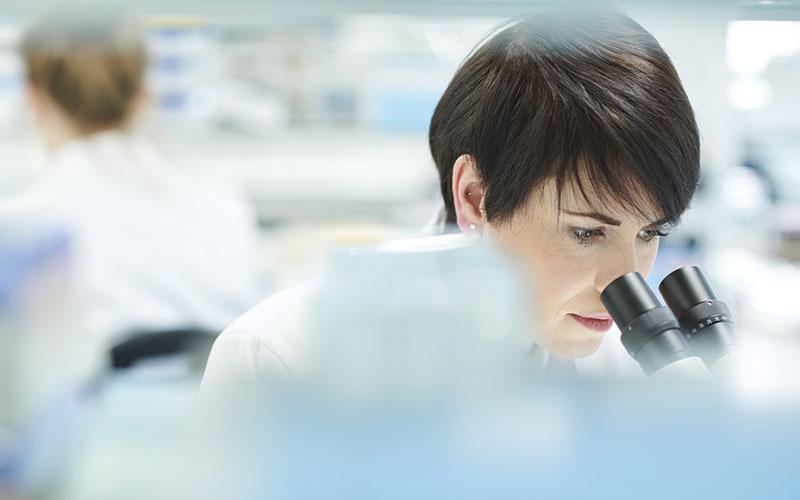 Help Scientist Looking Through Microphone